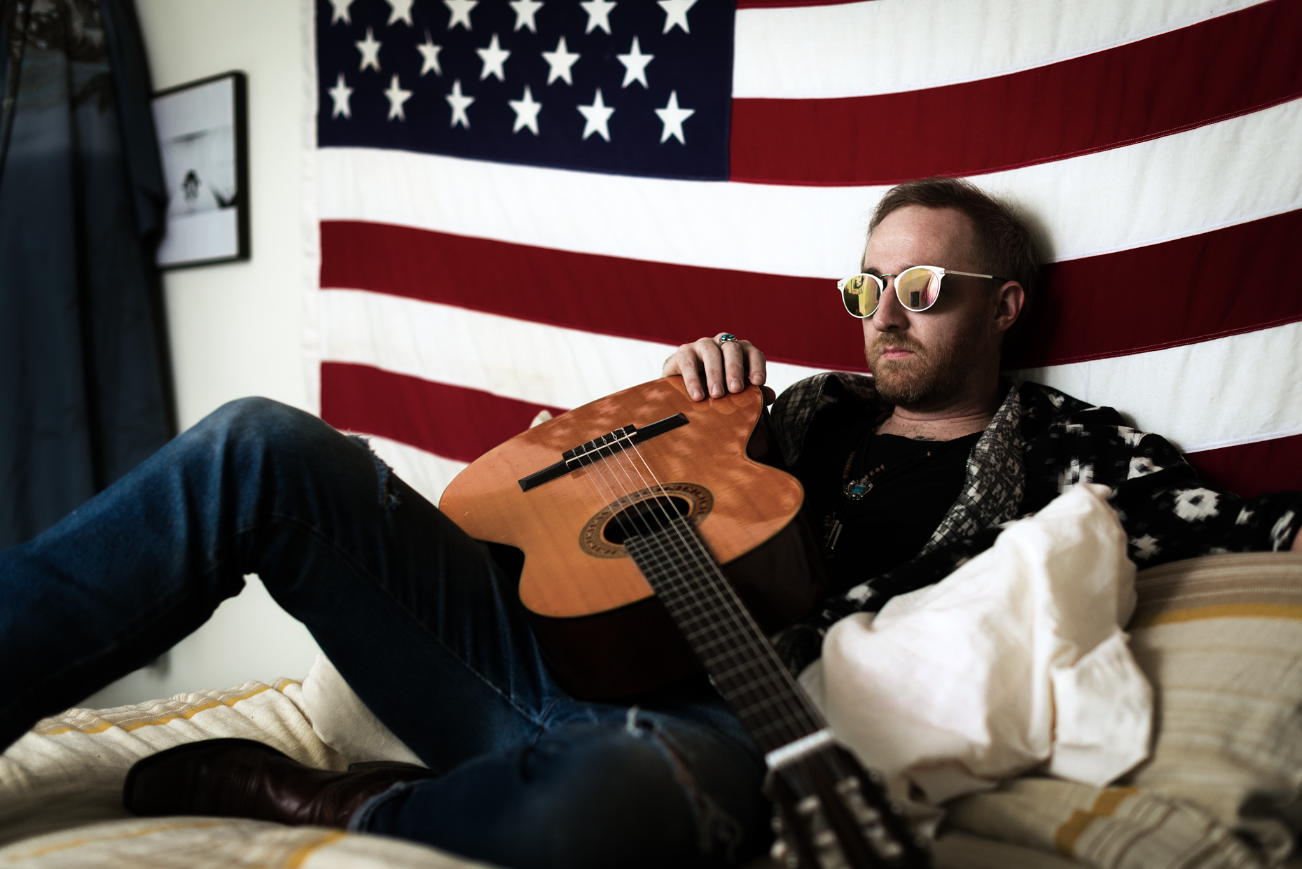 Austin-Commercial-Editorial-Photographer-Jonathan-Terrell-American-Flag-Acoustic-Guitar