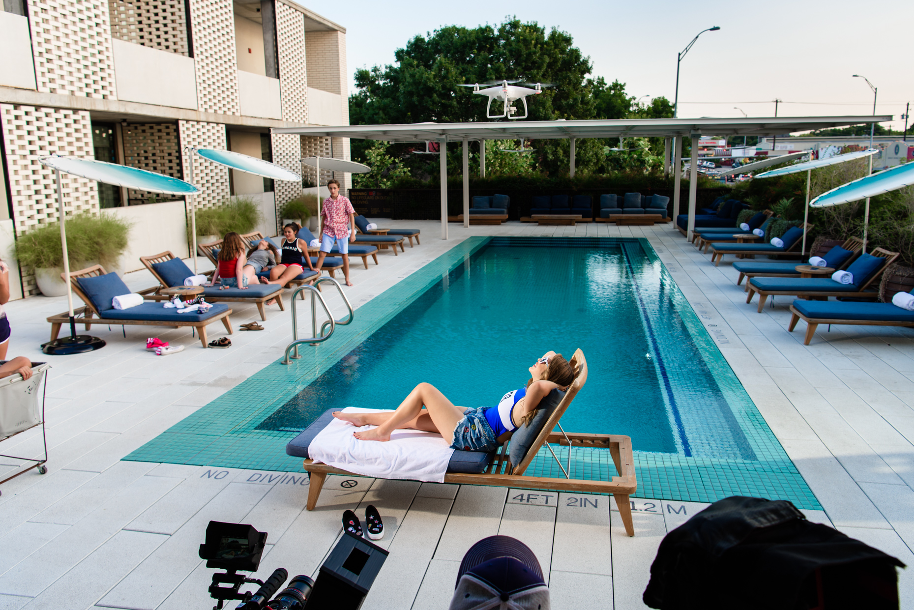 Austin-Commercial-Photographers-Madison-Mcwilliams-Behind-the-Scenes-Music-Video-South-Congress-Hotel-Pool