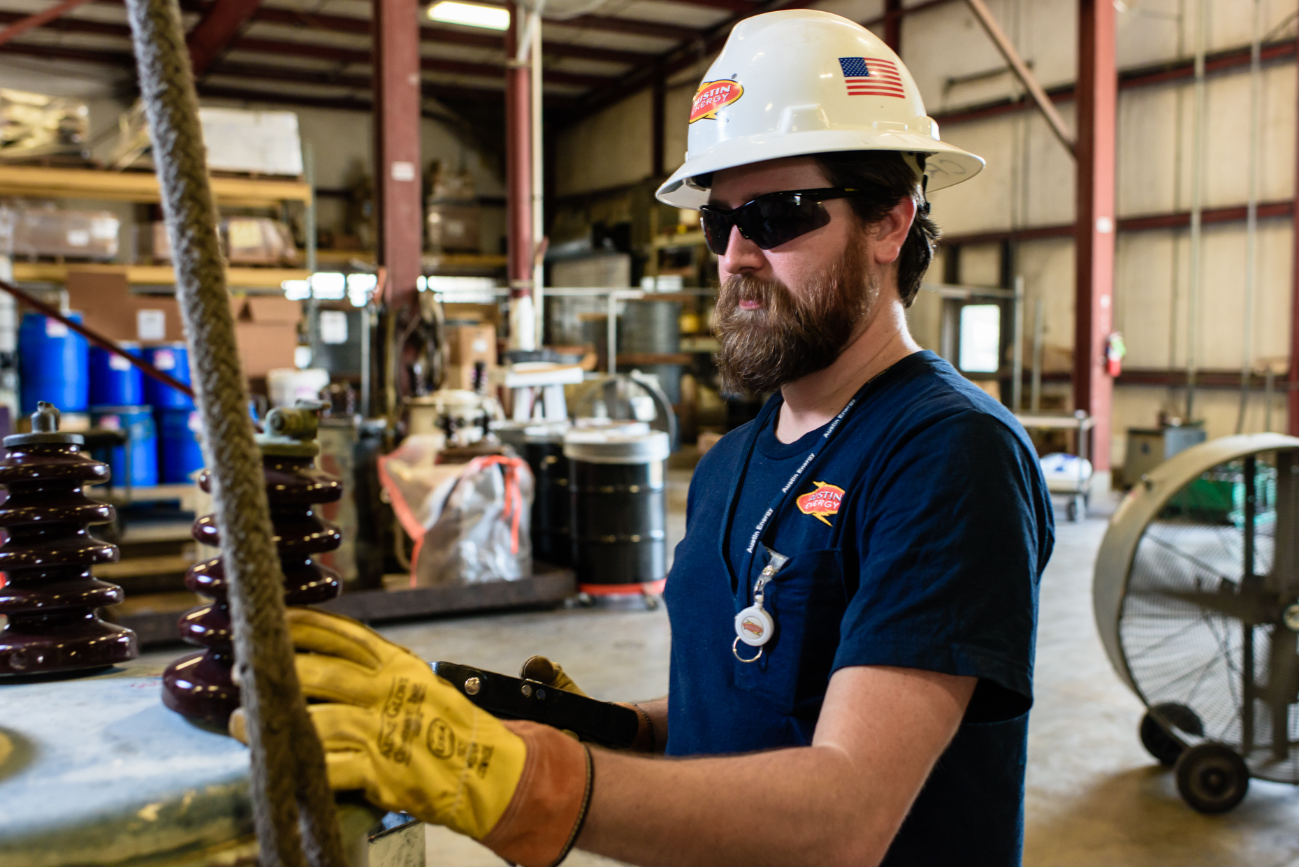 Texas-Commercial-Industrial-photographers-Austin-Energy-employee-worker-power-plant-helmet